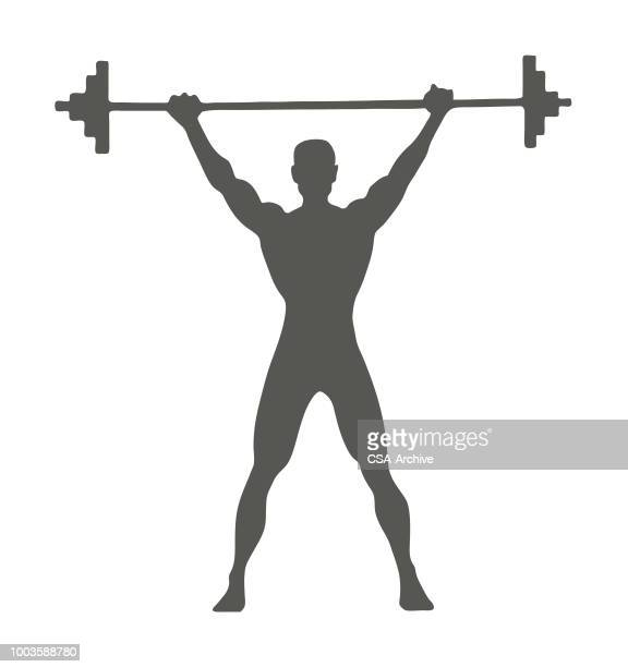 man lifting barbell - weight training stock illustrations
