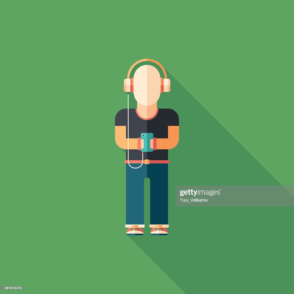 Man listening to music flat square icon with long shadows.