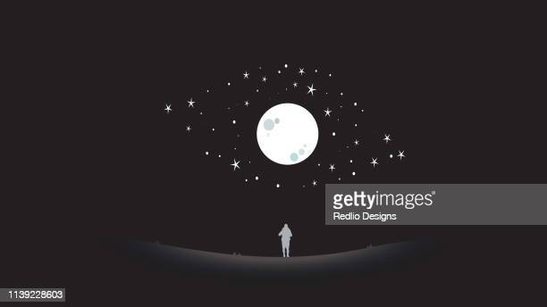 man look up to the sky art - moon stock illustrations