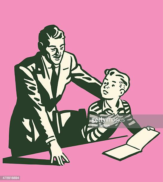 Man Looking at Book With Son