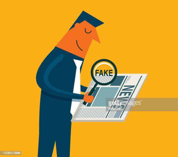 man looking for fake news in a newspaper - newsletter stock illustrations