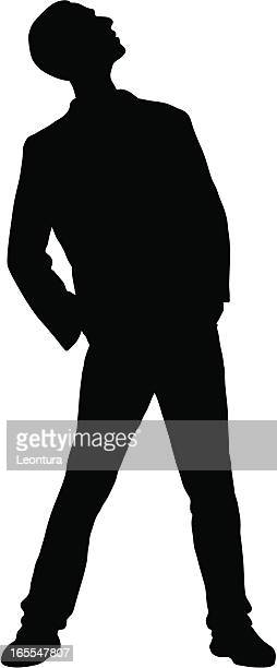 man looking up - one man only stock illustrations