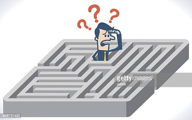 man lost and confused in labyrinth - lost stock illustrations, clip art, cartoons, & icons