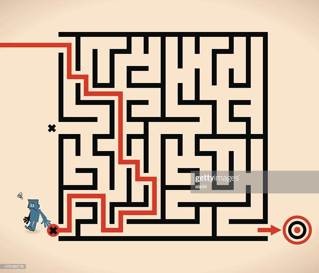 Man (Businessman) lost in maze, wrong way : Vector Art