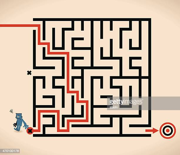 man (businessman) lost in maze, wrong way - wrong way stock illustrations, clip art, cartoons, & icons