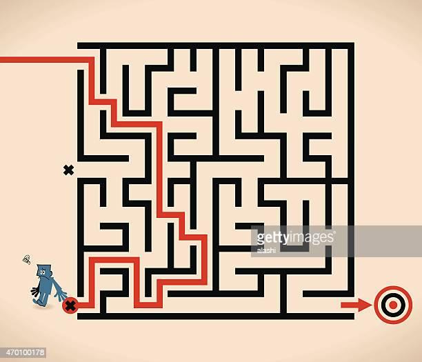 man (businessman) lost in maze, wrong way - wrong way stock illustrations