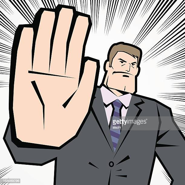Man Making Stop Gesture! No! Halt! Wait! Caution!