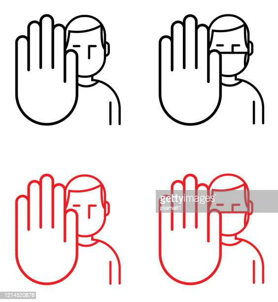 man making stop gesture - stop sign stock illustrations