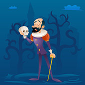 Man medieval suit tragic actor theater stage retro cartoon character