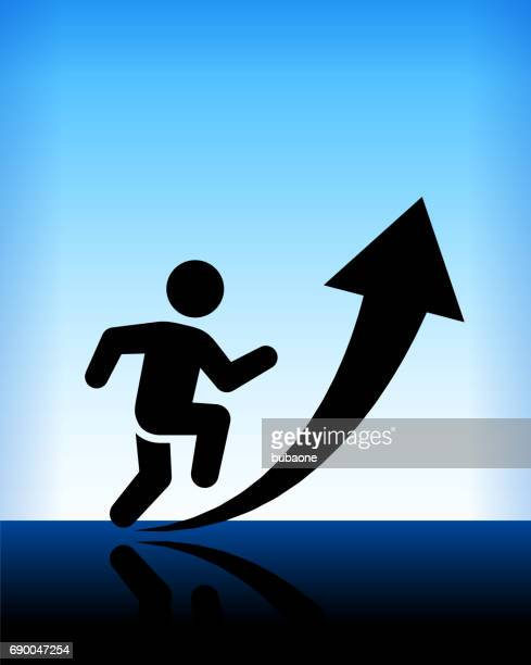 man moving up arrow blue vector background - uphill stock illustrations