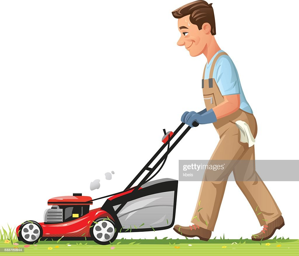 Man Mowing The Lawn : stock illustration