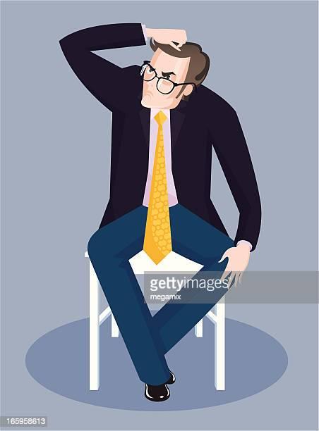 男性の椅子を備えております。 - 掻く点のイラスト素材/クリップアート素材/マンガ素材/アイコン素材