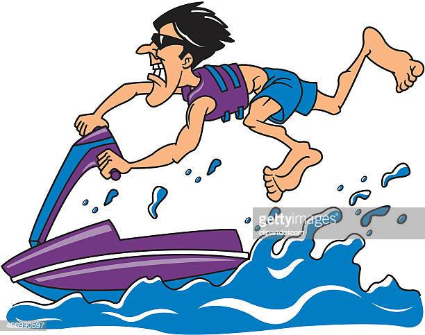 man on a personal watercraft - safety equipment stock illustrations, clip art, cartoons, & icons