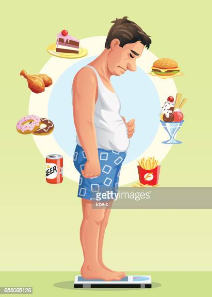 man on a scale deciding to go on a diet - temptation stock illustrations, clip art, cartoons, & icons