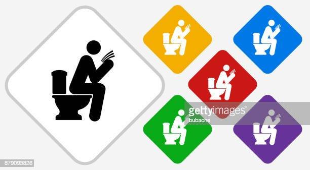 man on a toilet color diamond vector icon - defecating stock illustrations, clip art, cartoons, & icons