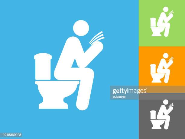 man on a toilet  flat icon on blue background - defecating stock illustrations, clip art, cartoons, & icons