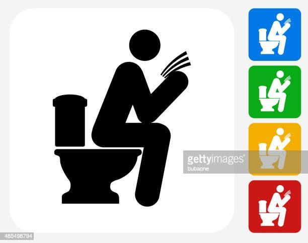 man on a toilet icon flat graphic design - defecating stock illustrations, clip art, cartoons, & icons