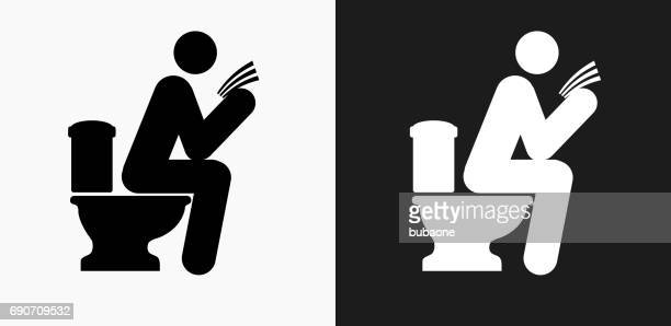 Man on a Toilet Icon on Black and White Vector Backgrounds