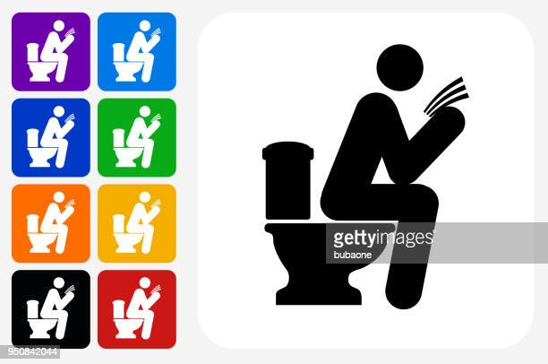 man on a toilet icon square button set - defecating stock illustrations, clip art, cartoons, & icons