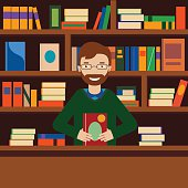 Man on background with bookcase. Librarian or bookstore seller