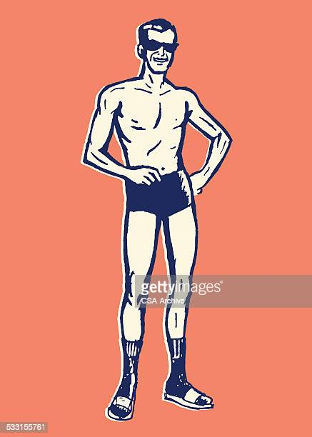 man on beach in swimsuit black socks and sandals - sandal stock illustrations, clip art, cartoons, & icons