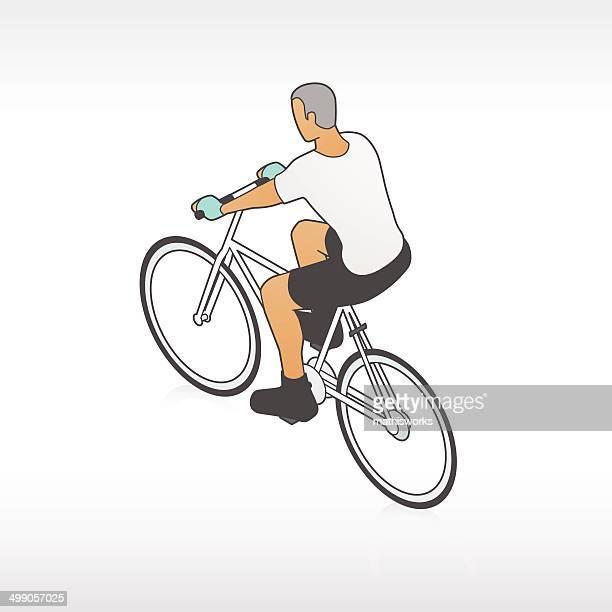 mann auf fahrrad illustrationen - mathisworks stock-grafiken, -clipart, -cartoons und -symbole