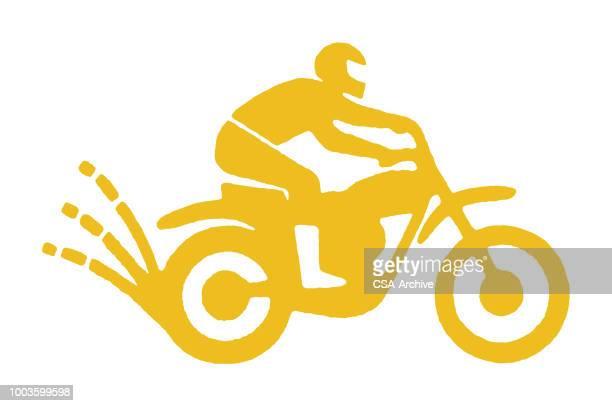 man on dirt bike - motorcycle helmet stock illustrations, clip art, cartoons, & icons