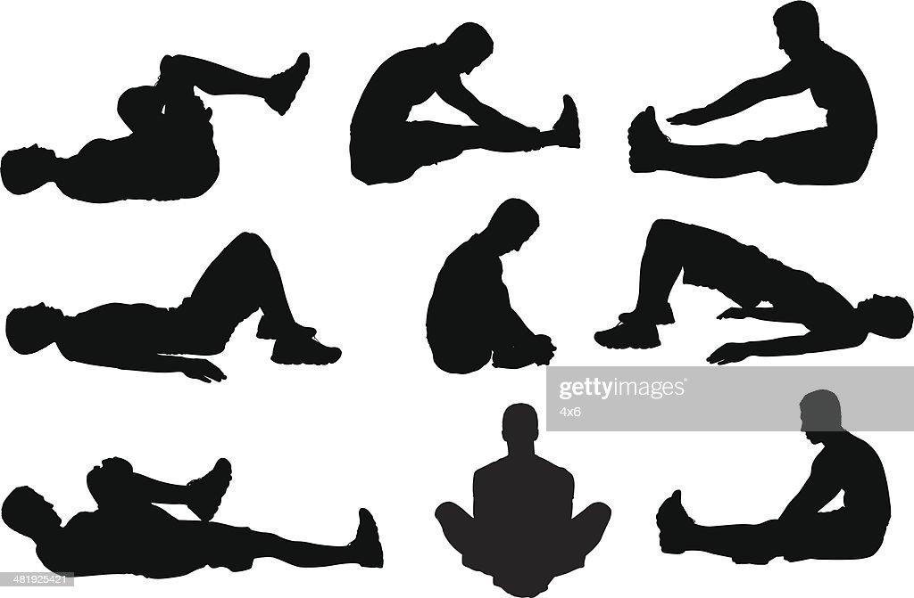 Man on ground stretching : stock illustration