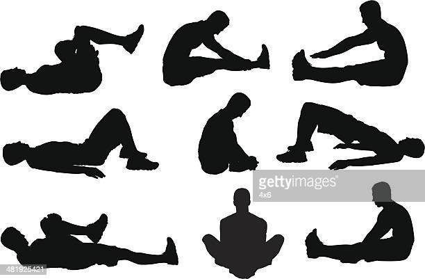 man on ground stretching - touching toes stock illustrations, clip art, cartoons, & icons