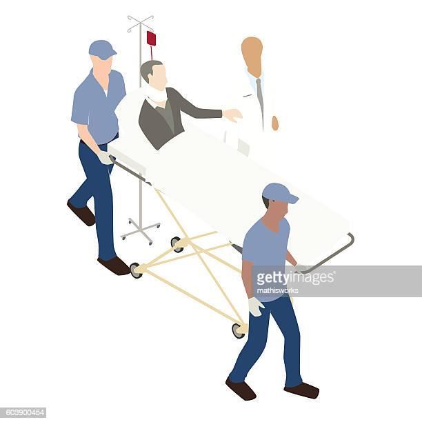 man on gurney illustration - mathisworks healthcare stock illustrations