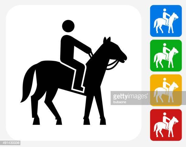 man on horse icon flat graphic design - horseback riding stock illustrations, clip art, cartoons, & icons