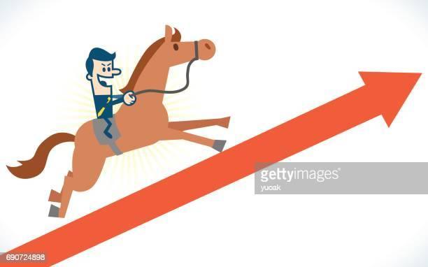 man on horseback running on arrow - 矢印 stock illustrations