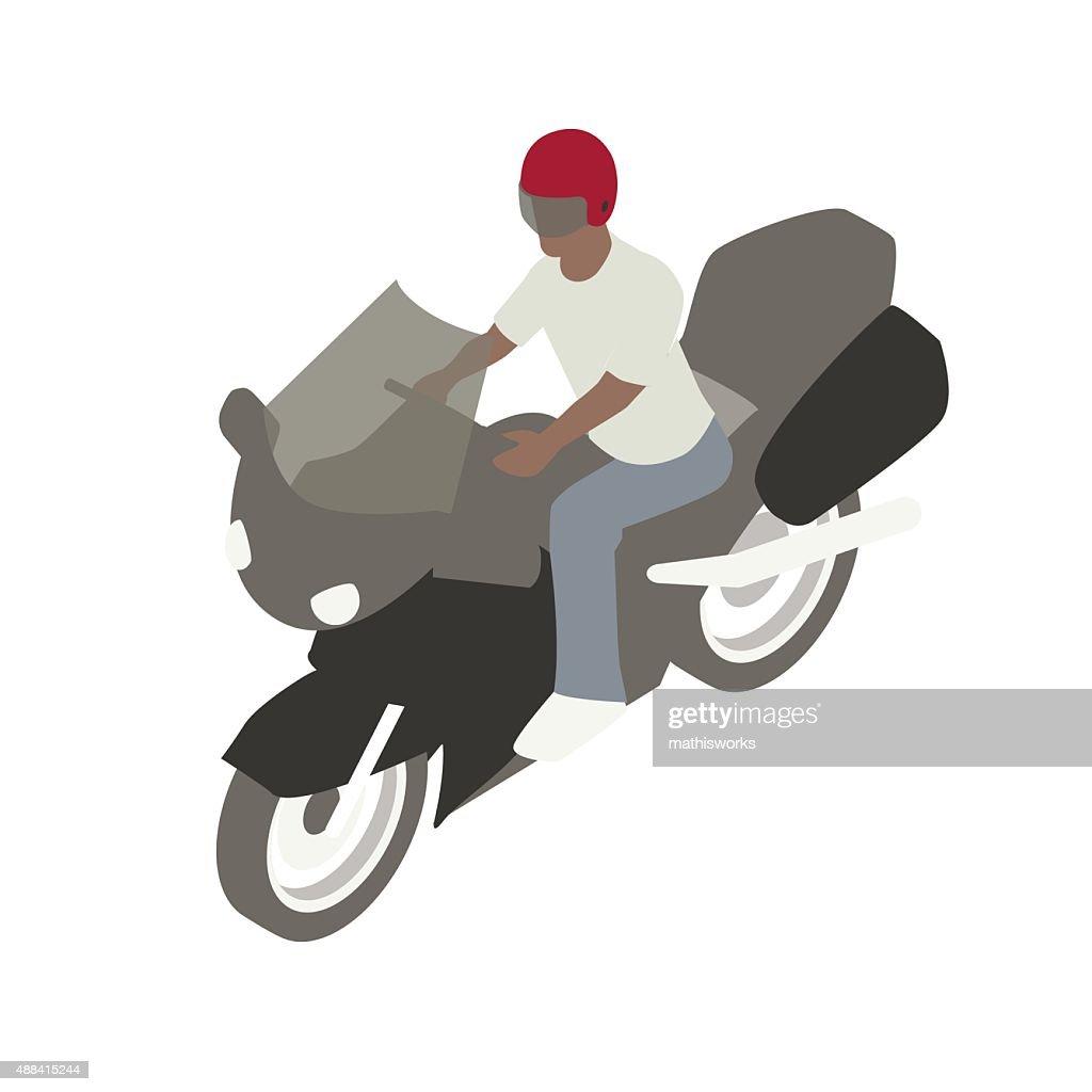 Man on motorcycle illustration : stock illustration