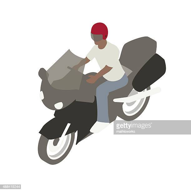 man on motorcycle illustration - motorcycle helmet isolated stock illustrations, clip art, cartoons, & icons