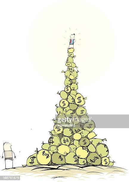 man on mountain of money - millionnaire stock illustrations, clip art, cartoons, & icons