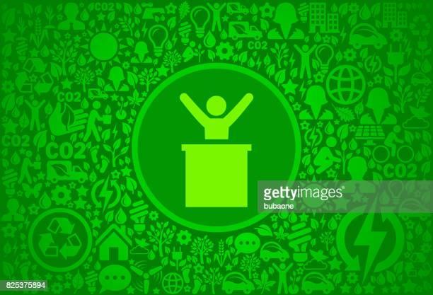 man on pdium environment green vector icon pattern - political rally stock illustrations, clip art, cartoons, & icons