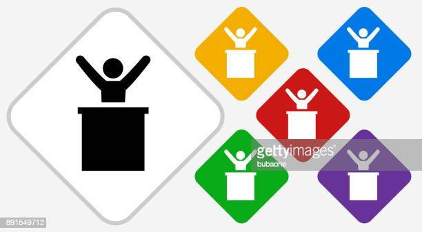 Man on Podium Color Diamond Vector Icon