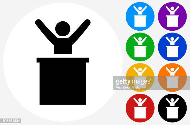 man on podium icon on flat color circle buttons - political rally stock illustrations, clip art, cartoons, & icons