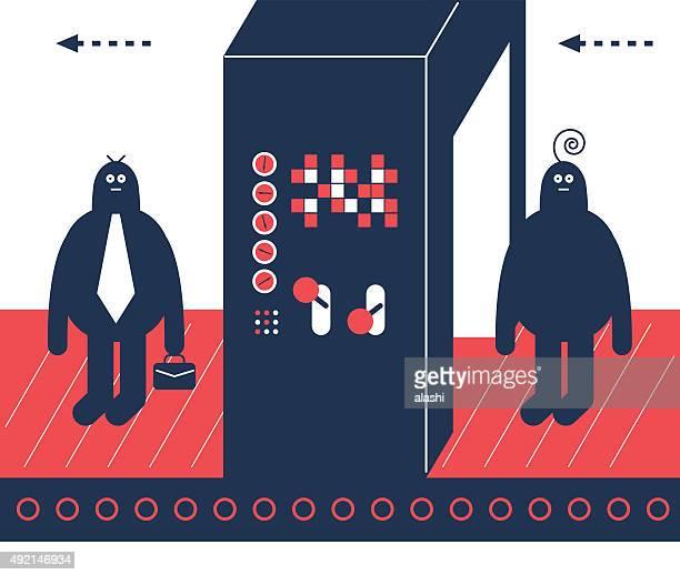 Homem na linha de produção, através da instalação gate, tornar-se um empresário
