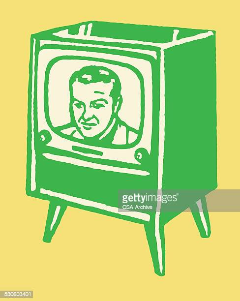 man on television screen - actor stock illustrations