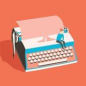 Man on vintage typewriter. Vector illustration. Isolated background