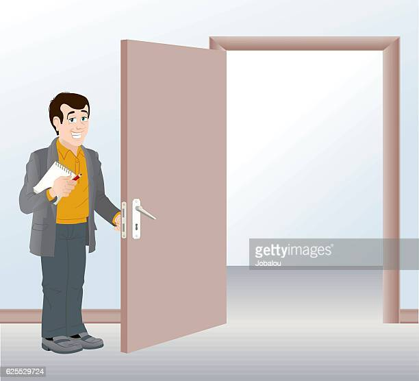man opening the door - holding stock illustrations, clip art, cartoons, & icons