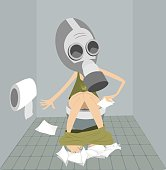 Man or a woman with diarrhea (food poisoning) sitting in the toilet