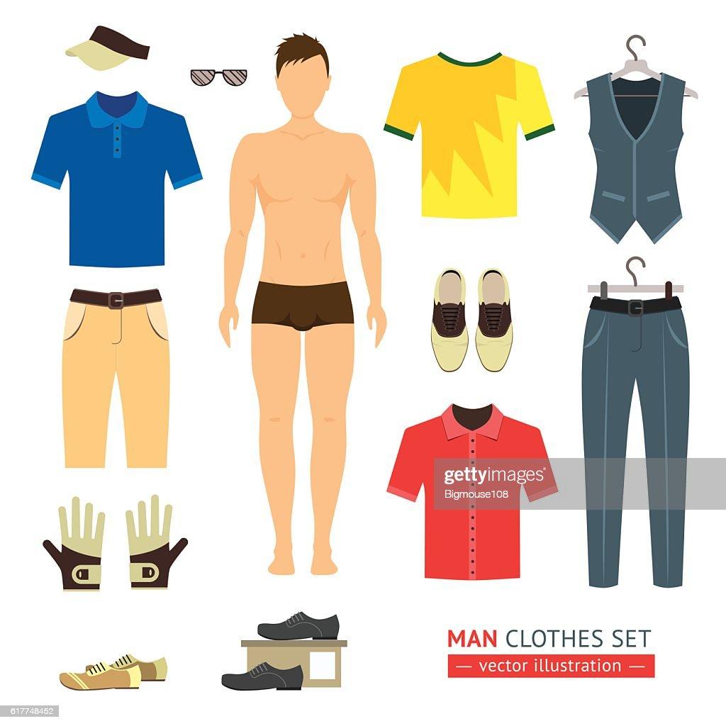 Man or Boy Clothes Set. Vector