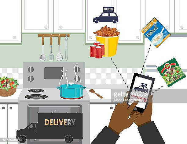 Man Ordering Food For Delivery On A Cell Phone