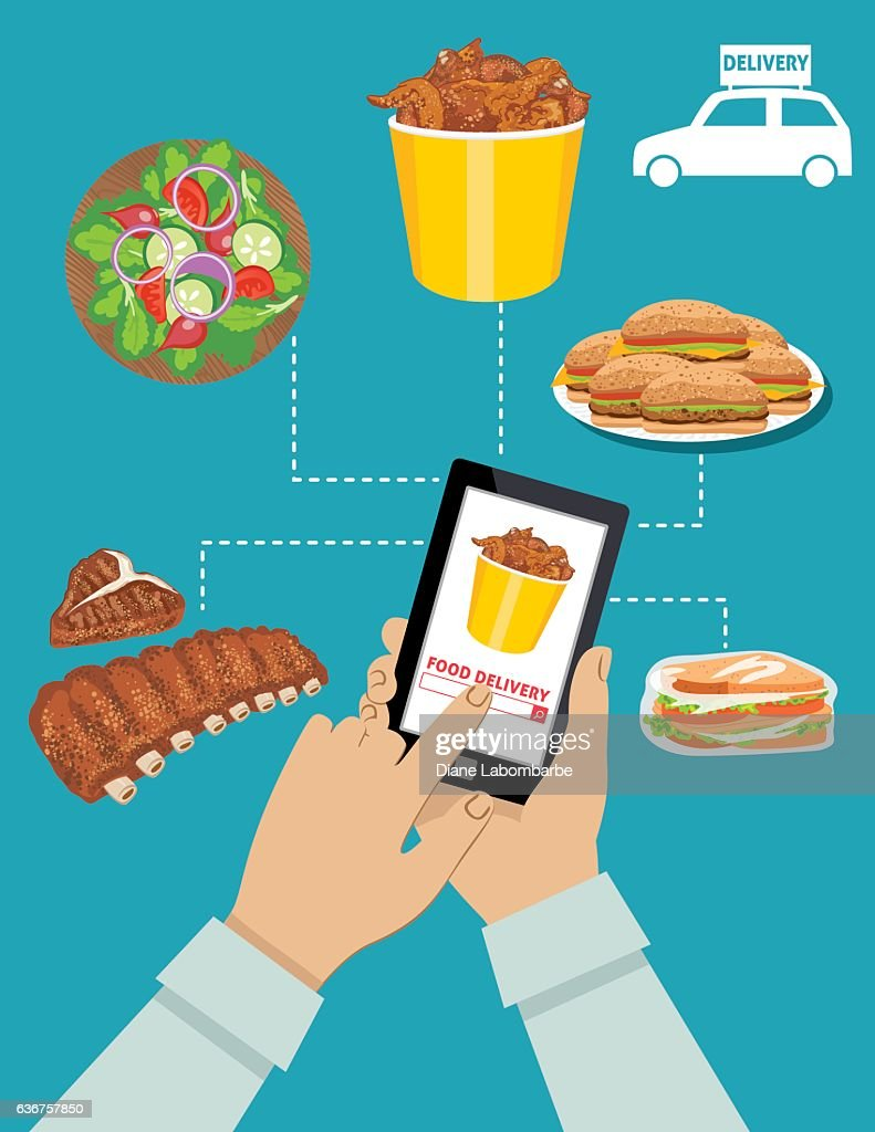 Man Ordering Food For Delivery On A Tablet : stock illustration
