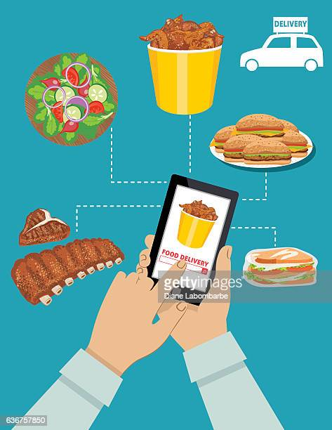man ordering food for delivery on a tablet - ordering stock illustrations, clip art, cartoons, & icons