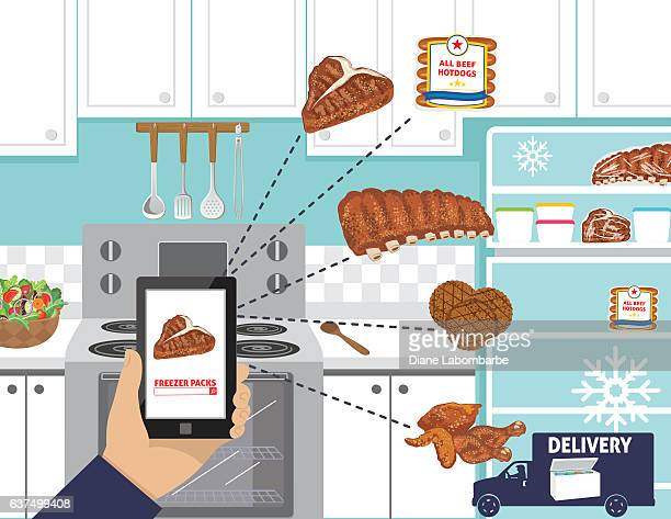 man ordering meat for the freezer on a cell phone - frozen food stock illustrations