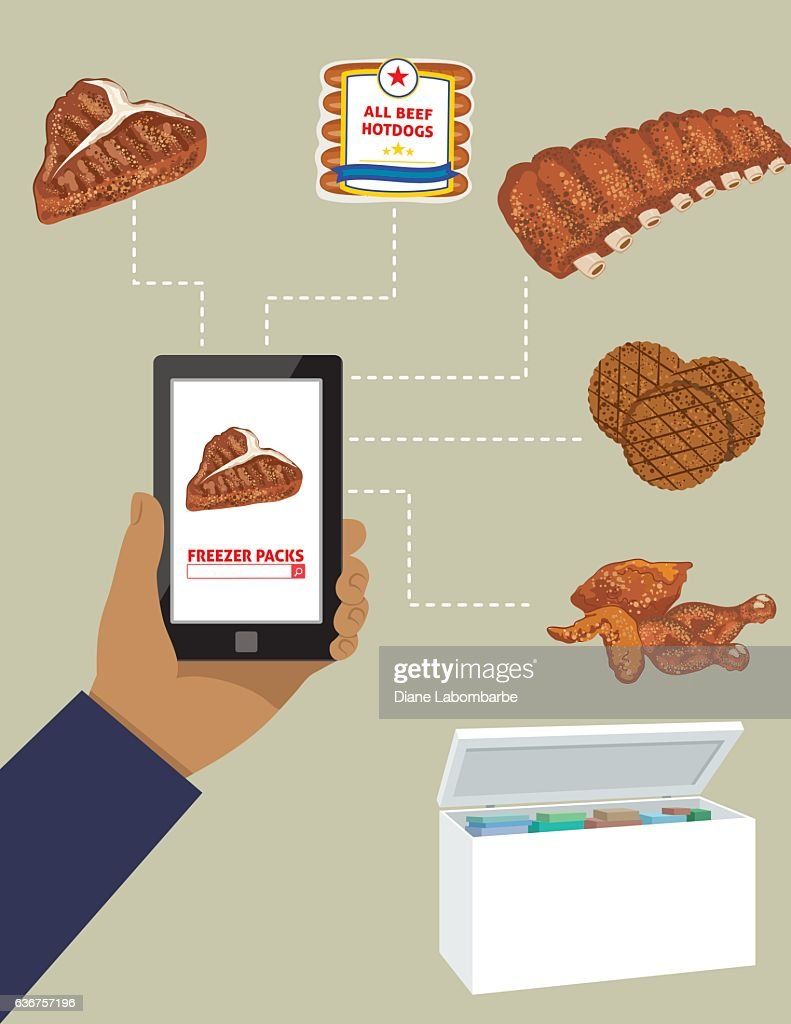 Man Ordering Meat For The Freezer On A Tablet : stock illustration