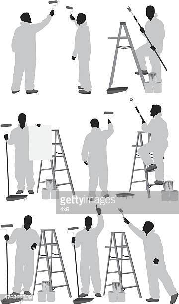 ilustraciones, imágenes clip art, dibujos animados e iconos de stock de pintura de una pared persona - pintores de brocha gorda